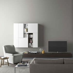 Spazio S310, Wall system with TV stand, with lighting