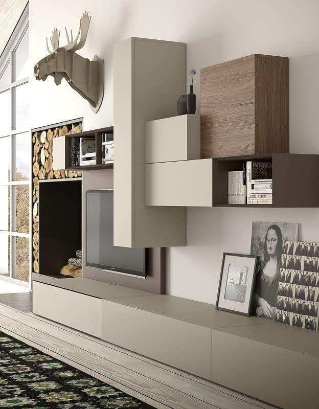 Spazio S314, Wall system for TV, with loudspeakers