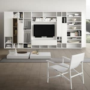 Spazioteca SP014, Modular system for the modern living room, in wood