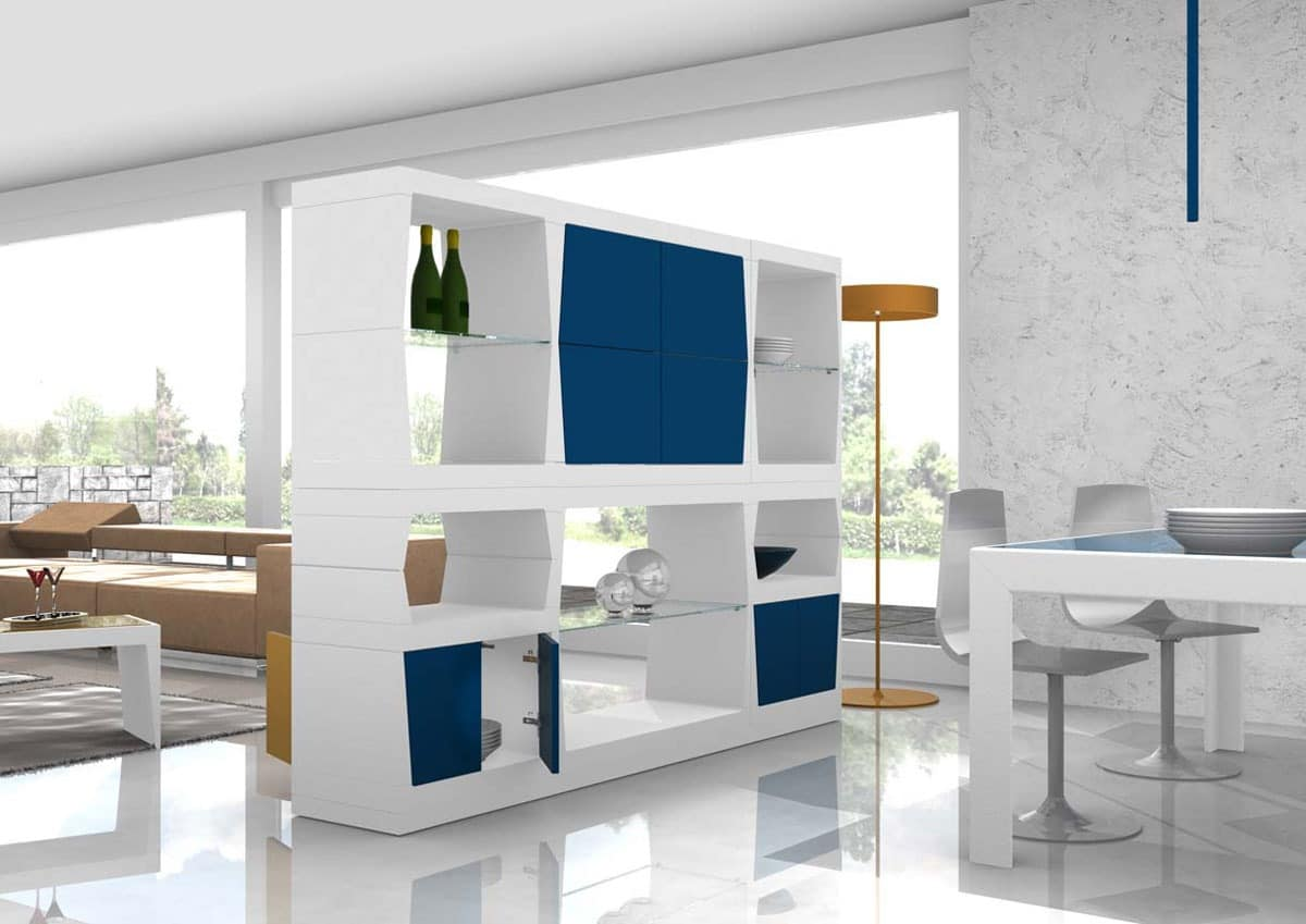 Swing, Partition mobile with glass shelves and doors