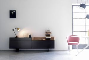 TRAY 203, Living room furniture in matt black lacquered