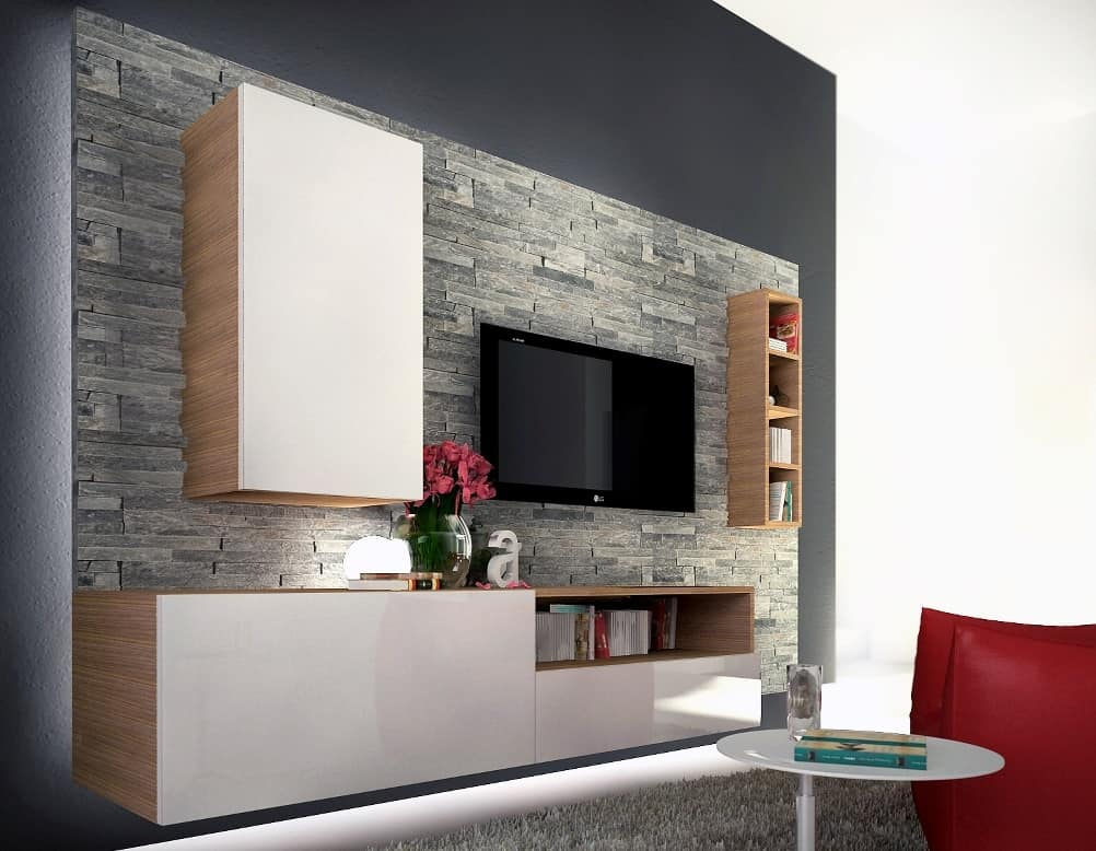 Living room furniture in melamine and slate idfdesign for Mobili salotto design