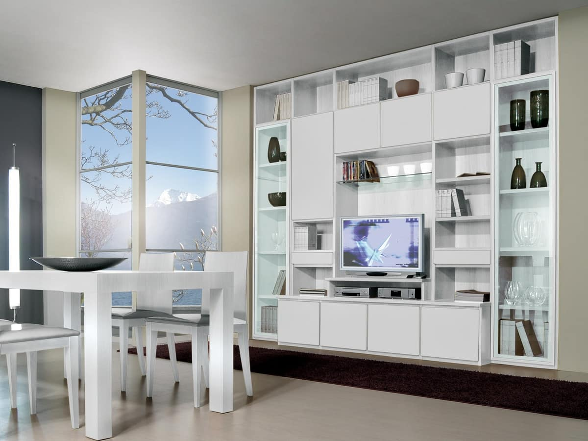 Modular System For Living Room And Dining Room With Tv Stand Idfdesign