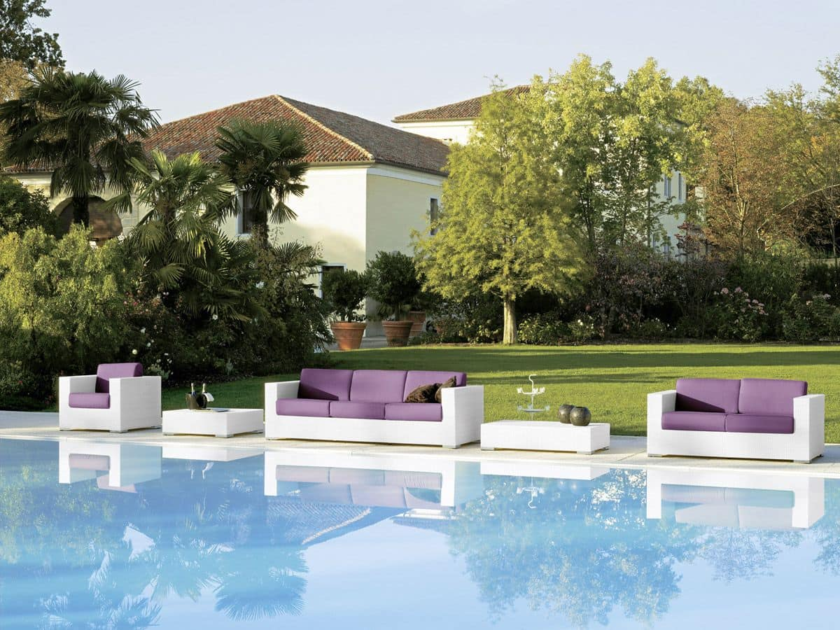 Cora armchair, Armchair hand woven, for swimming pools and gardens
