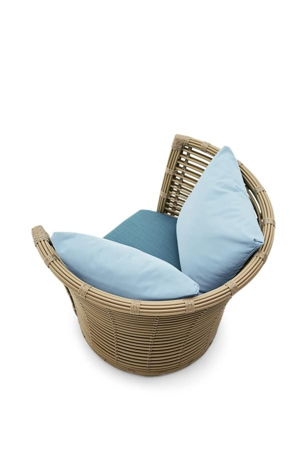 Tonkin armchair, Woven armchair, with big cushion, for gardens and terraces