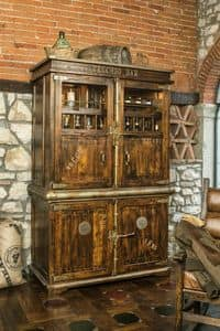 Art. 624, Rustic cabinet, sliding doors, bottle holder