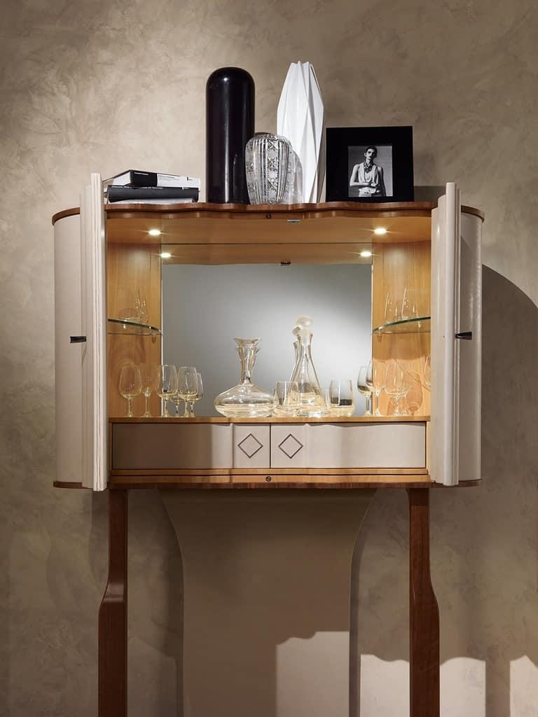 MB54 Mistral Bar cabinet, Bar cabinet, leather-covered, bronze finishing