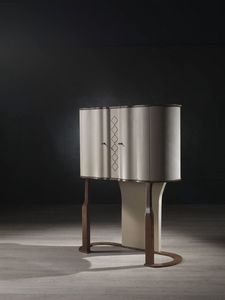 MB54 Mistral Bar cabinet, Bar cabinet, leather-covered, bronze finishing