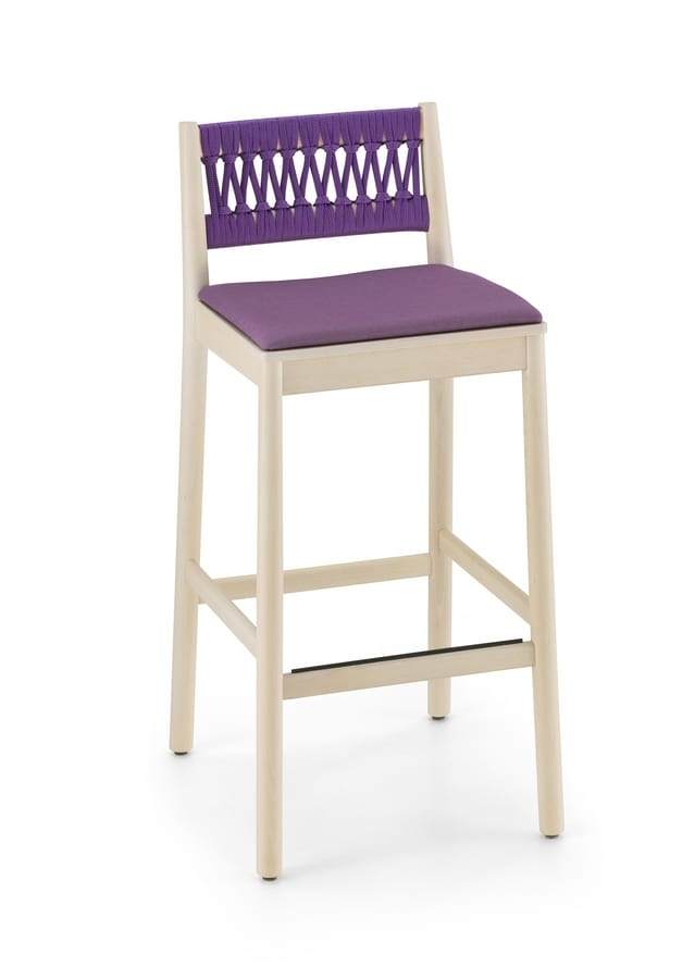 ART. 0029-IN H76 JULIE, Stool in beech wood with rope backrest