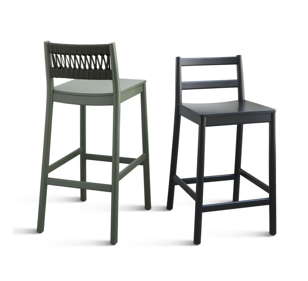 ART. 0028-IN JULIE, Ash stool with rope braided backrest