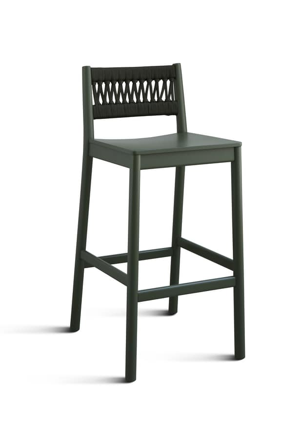 ART. 028-IN JULIE, Ash stool with rope braided backrest