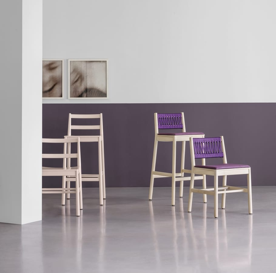 ART. 0026-LE JULIE, Stool in ash, available in various colors
