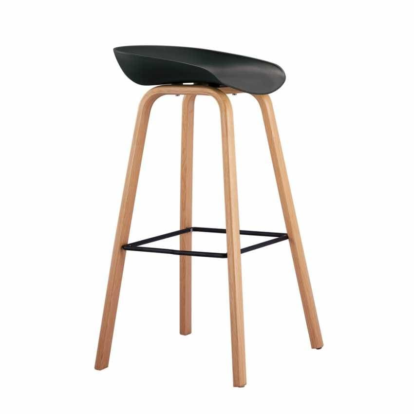 High Stool for Bar and Kitchen with Wood Effect TOWERWOOD - SGA696LE, Stool with wooden legs with footrest