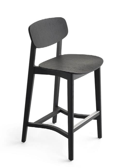 Lene 65-82, Stool made of wood with fixed seat height