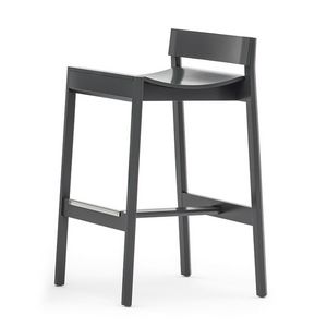 Maki 03781, Wood stool with low backrest