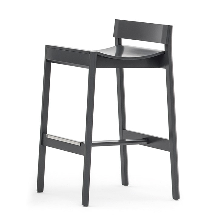 Maki 03781, Wood stool with low backrest