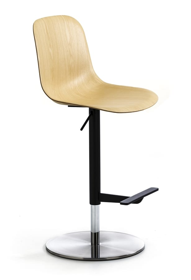Máni Wood ST-ADJ, Swivel stool with wooden seat