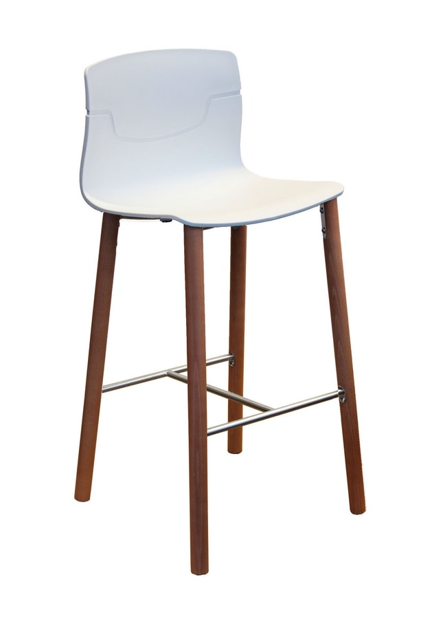 Slot Stool 68 BL, Barstool in polymer and beech, for bars and restaurants