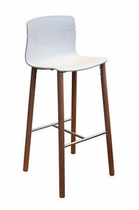 Slot Stool 78 BL, Barstool in wood and polymer, for hotels