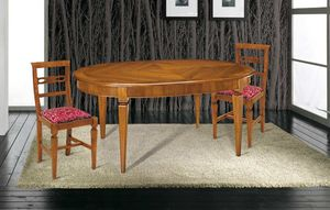 Art. 83, Wooden table, with inlaid oval top