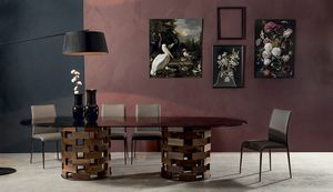 BIG COLOSSEO, Fixed table with double base in round solid wood