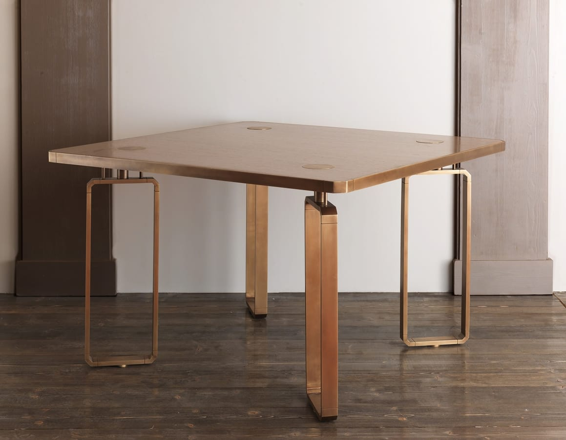 DOMINO HF2076TA, Wooden dining table with brass decorations