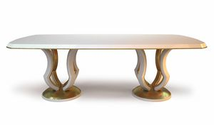 Lotus, White lacquered dining table