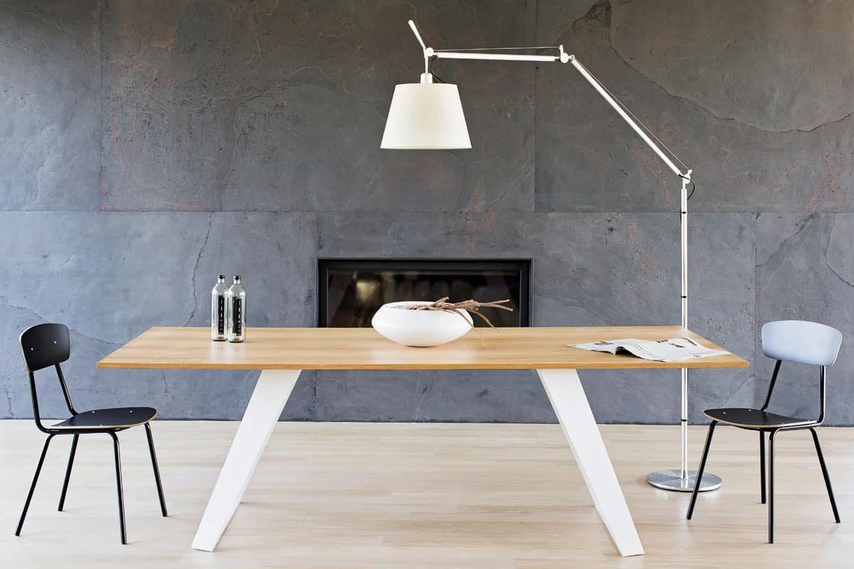 Morgan Modern Table With Metal Base And Laminate Top