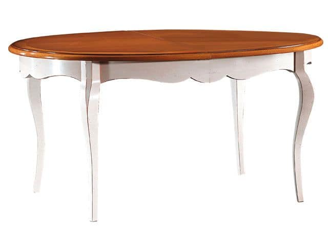 TA21, Oval extendable table with beech legs and laminate top
