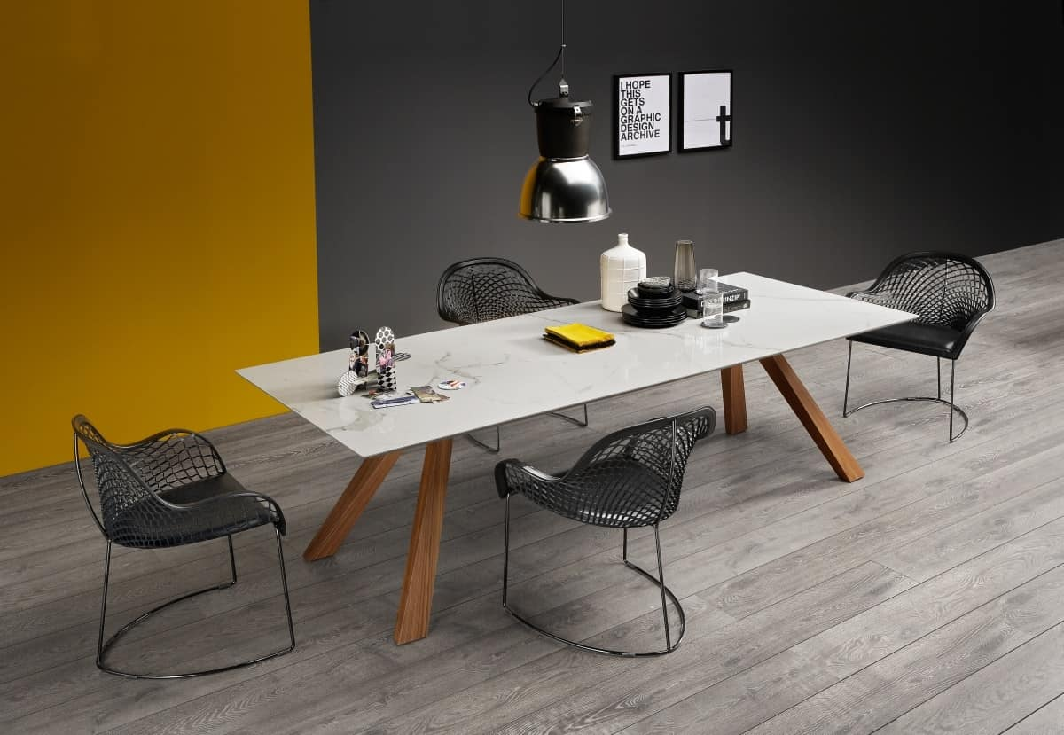 Zeus LG Marble, Wooden Table With Marble Top