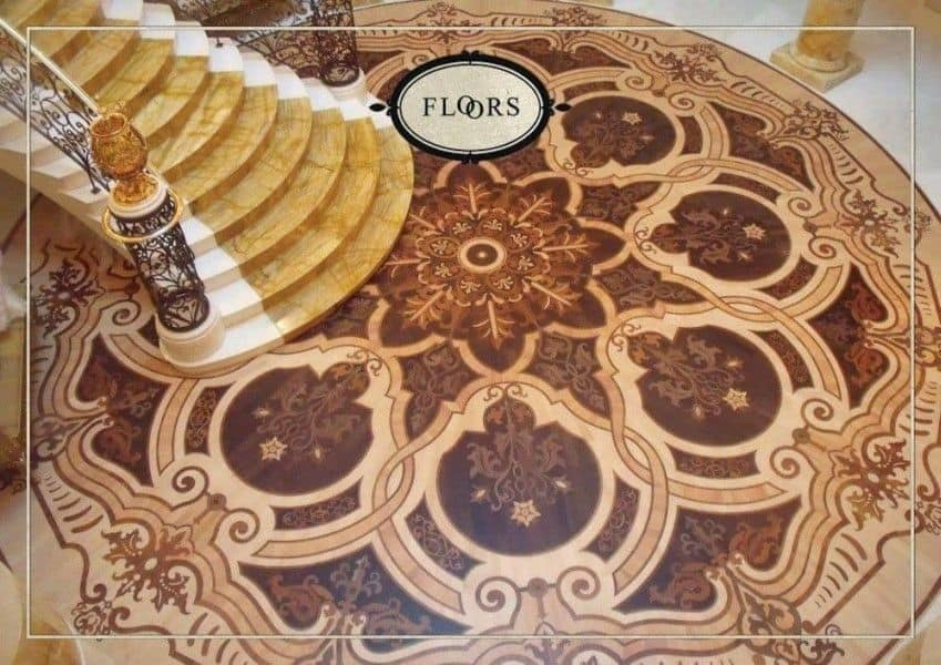 Wooden flooring, Wooden floor with prestigious inlaid , ideal for classic style environments