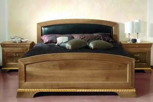 138, Walnut bed, with black leather headboard