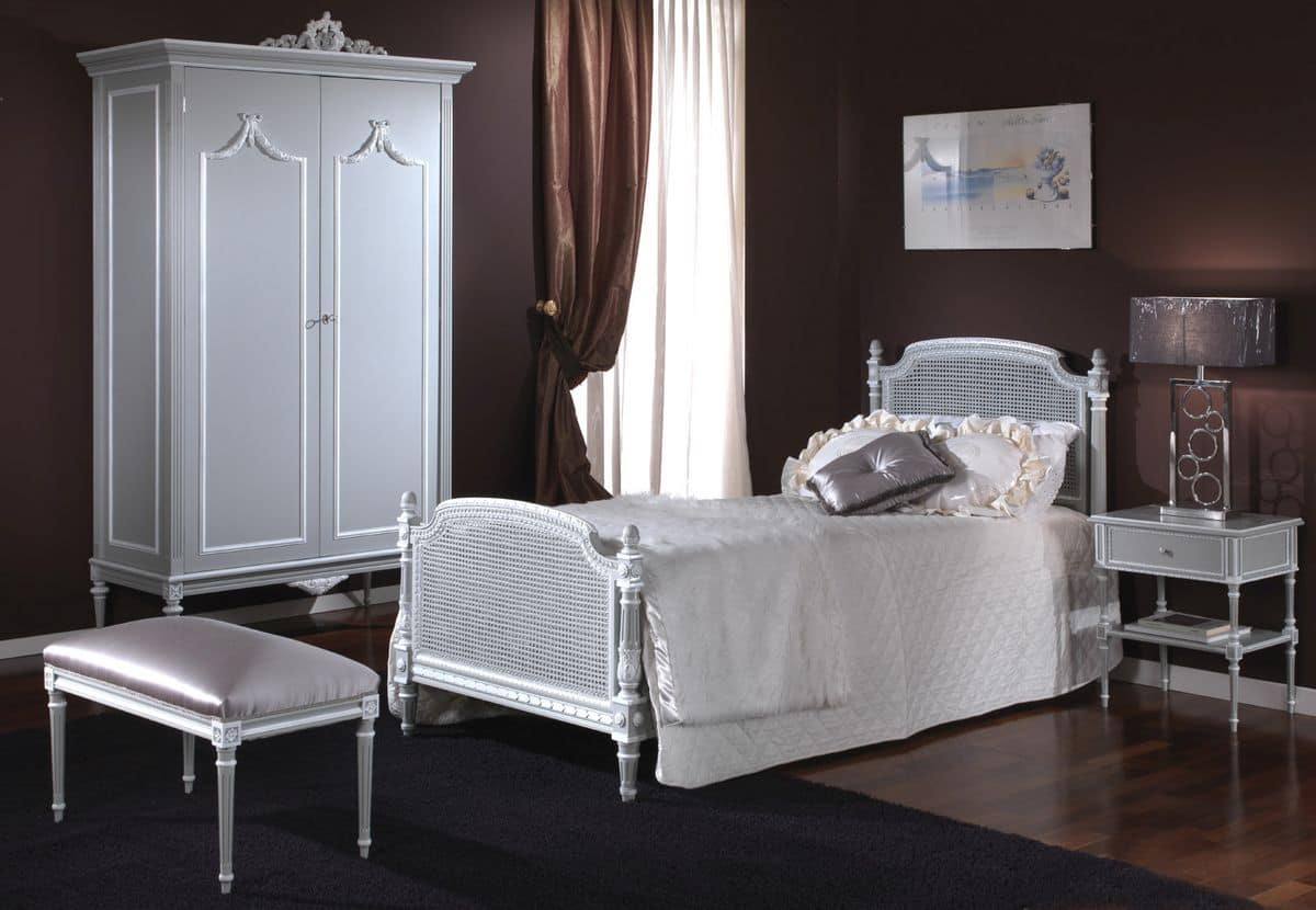 3650 BED, Single bed with headboard and footboard in Vienna cane, hand carved, in Louis XVI classic style