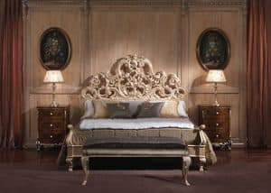 3660 BED, Bed with Baroque-style, for luxurious bedrooms, wooden structure with coated gold leaf finish
