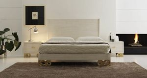 Allegra carved foot bed, Sandblasted wooden bed