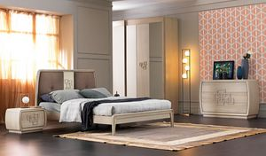 Amarcord Art. AM015, Wooden bed with upholstered headboard