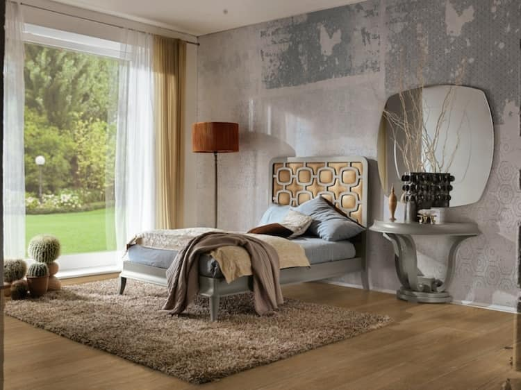 Art. VL723, Modern bed with upholstered headboard, rich finishes
