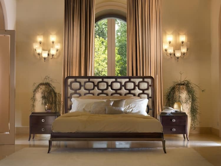 Art. VL726, Wooden bed, padded, with contrasting inlays