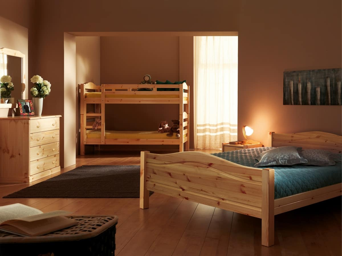 Bastia bed, Fir wooden bed, rustic style