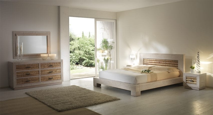 Bed rumba pickled white, Ethnic style bed with headboard