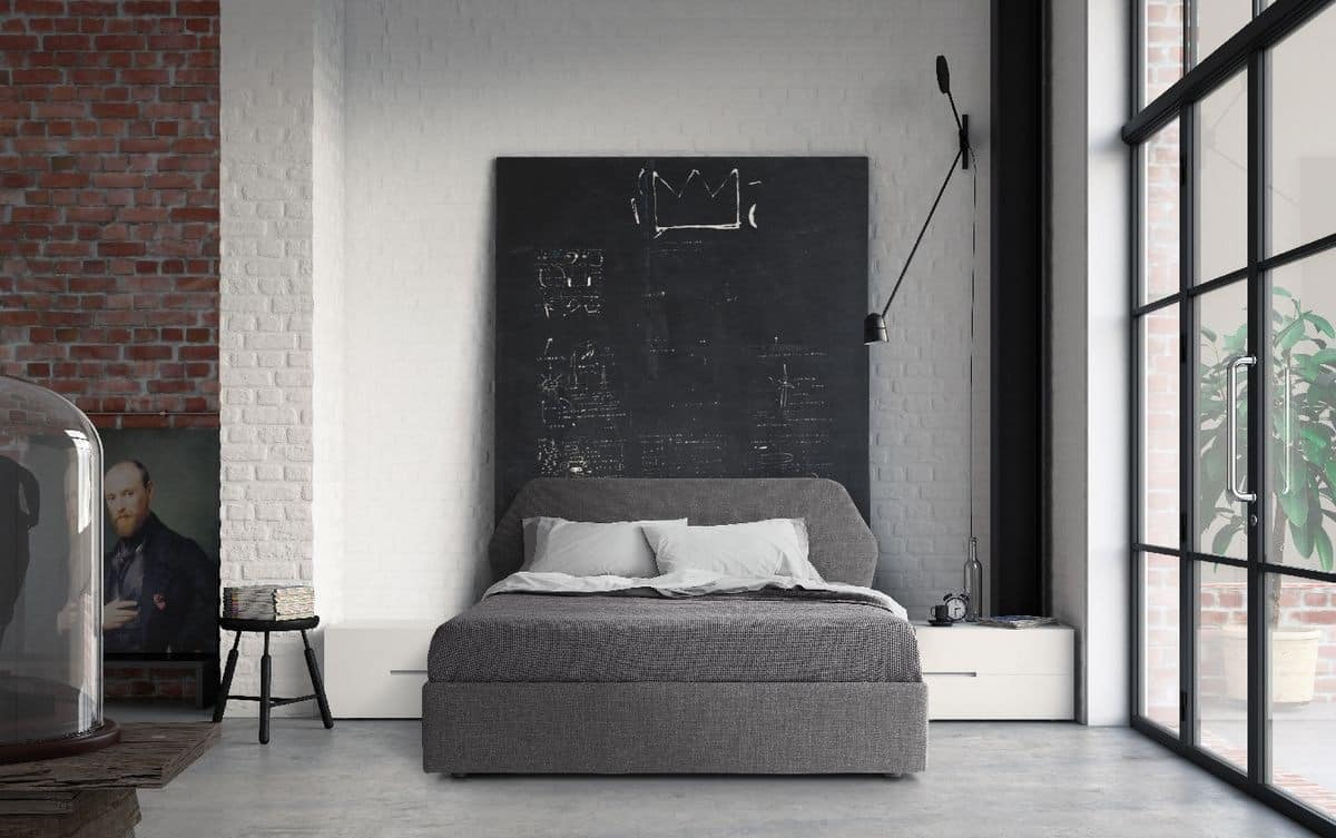 Trama, Double bed, minimal design, with wooden frame