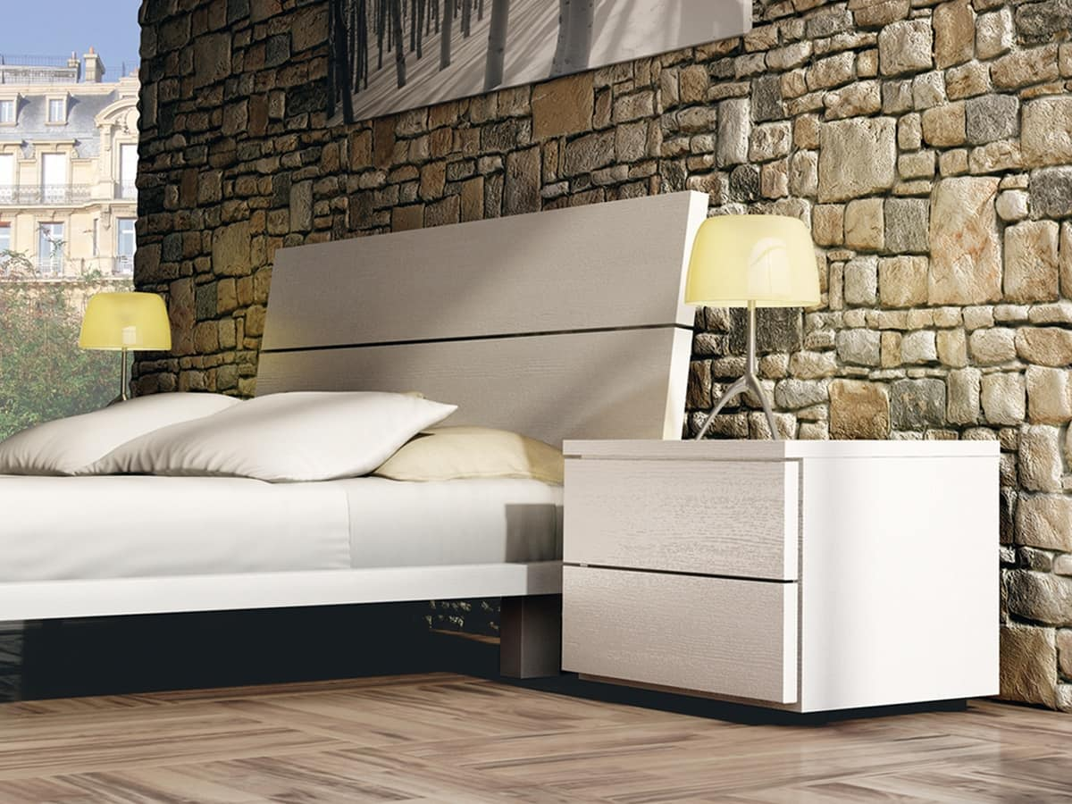 Bed Design 12, Wooden double bed, with elegant finishes