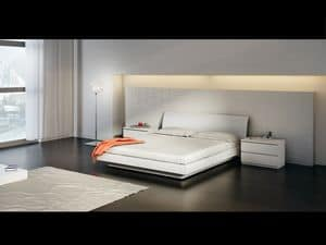 Bed Design 15, Double bed with wooden base, in simple style