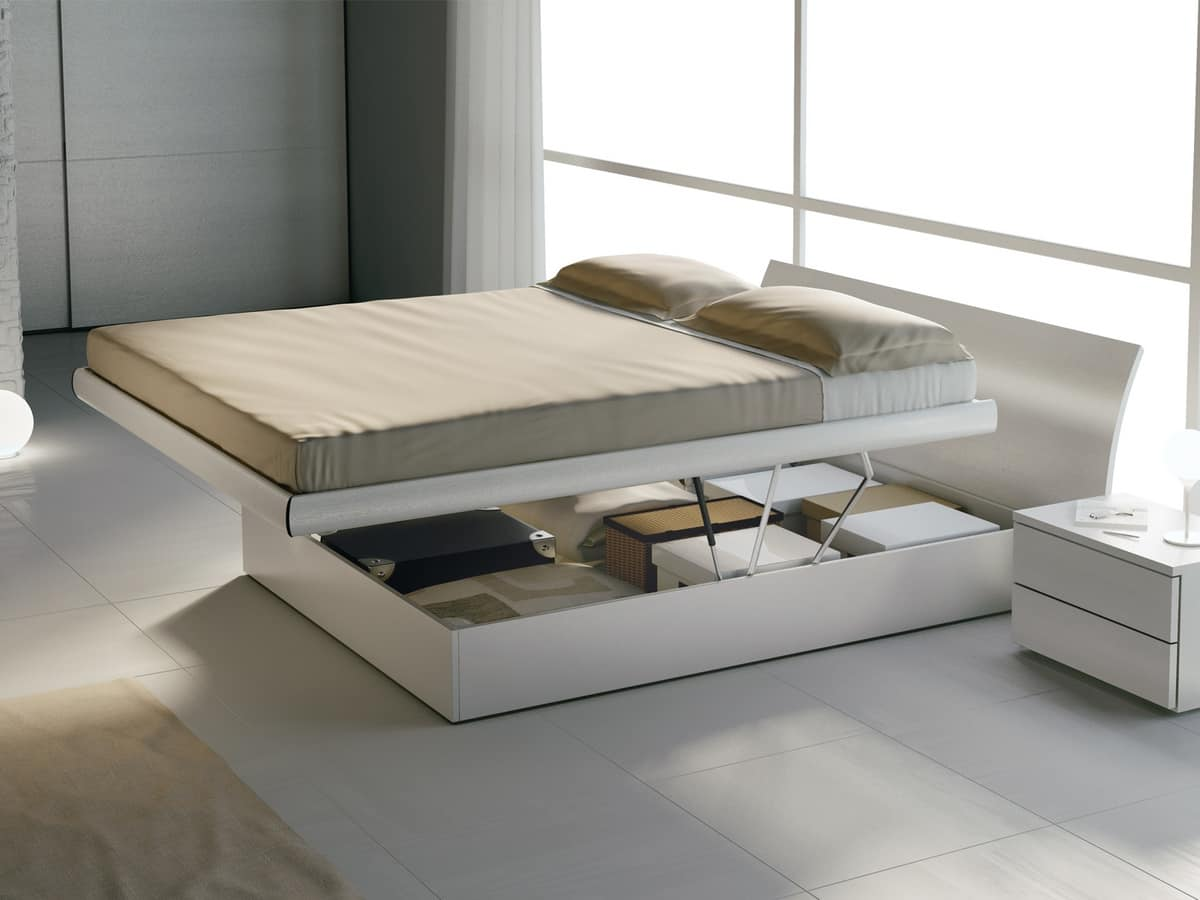Bed Design 18, Wooden double bed, with storage box