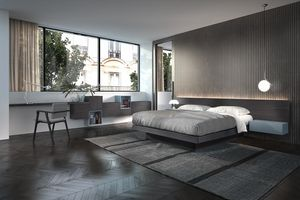 Bed Design 25, Wooden double bed, with long headboard