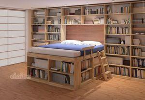 Biblioteca, Space-saving bed with shelves