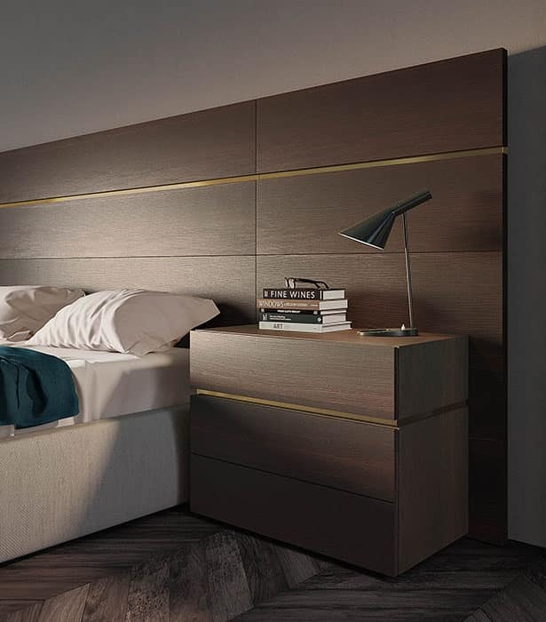 Boiserie comp.02, Headboard for bed in matt wood, for hotels