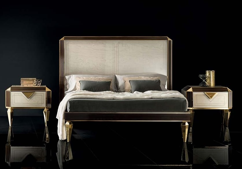 DIAMANTE bed, Bed with legs in the shape of a diamond