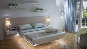 Floating, Austere bed, clean and light form, integrated bedside tables