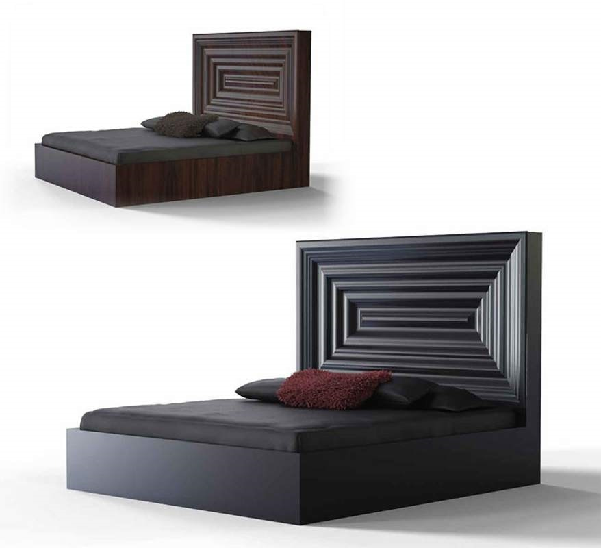 Frames Art. L02, Wooden bed with imposing headboard
